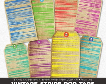 Digital Collage Sheet • Vintage Stripe Pop Printable Hang Tags • 8 Instant Download Hangtag & Gift Tag Designs • JPG PNG