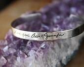 Personalized Handwriting bracelet, Sterling silver cuff, Signature jewelry, memorial jewelry, silver customized jewelry, mom jewelry