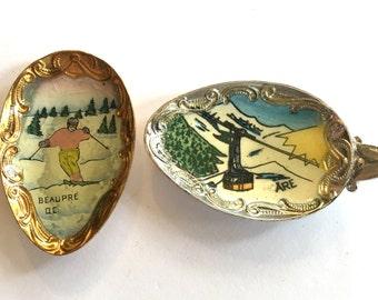 Antique spoon souvenirs (2) Czech enamel Skiing gondola lift aerial lift  hand enamel Findings recycled pendants jewelry (2)