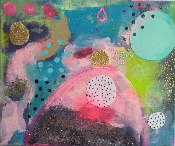 Abstract Landscape Expressive Geometric Original Canvas Painting contemporary Art Collage Neon Pink Glitter Modern Fun Happy Art Painting