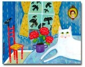 ORIGINAL cat folk art painting WHITE cat with red geraniums and crows naive happy art by TASCHA