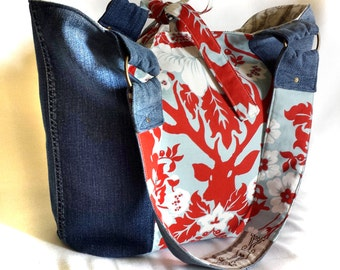 crimson red deer floral in deep worn denim eco tote, handmade eco-friendly market shoulder bag, large upcycled jeans handbag