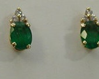 14 karat oval emerald earring-3 diamonds accents-gift for her-stud earrings