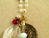 Boho Feather Long Necklace Rosary Style