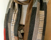 Men's patchwork stripe pieced wool & corduroy scarf 75""
