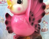 VERY RARE Vintage Antique Hot Pink Bird On A Tree Branch Planter or Vase Wall Pocket Hanging Collectible