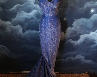 Vintage 1950s Rare Custom Couture Electric Blue Lurex Gown with Train - Size Small