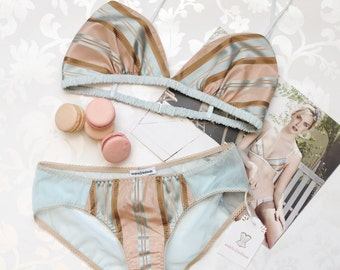 Marianne silk panties- pink and blue striped silk with mesh, a la Marie Antoinette. Sheer low-rise pastel knickers luxury lingerie stripes