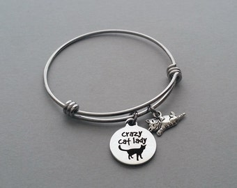 Cat Charm Bracelet, Cat Lover Bangle, Crazy Cat Lady, Cat Rescue, Animal Rescue, Charm Bangle, Stainless Steel Adjustable Bangle