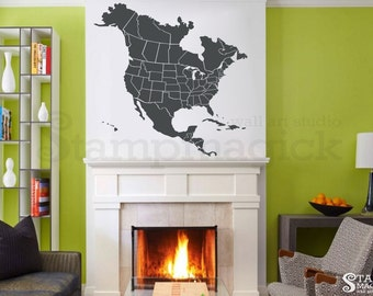 World Map Wall Decal Countries United States Map Canada - Dry Erase Blank Us Map