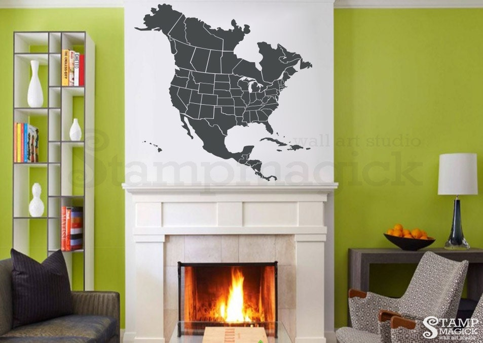 North America Map Decal United States USA US Map Wall Decal - Us map wall decal