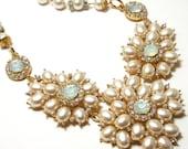 Gold, Pearl, and Rhinestone Bib Necklace - Ivory faux pearl necklace with aurora borealis rhinestones - Vintage Bride Bridal wedding jewelry