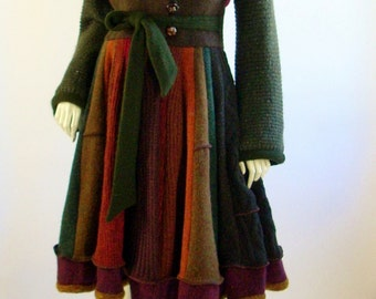 Upcycled Sweater Coat/Bohemian/Fall Colors/ Marilyn Style /Size Sm-Med (8-10) by Brenda Abdulllah