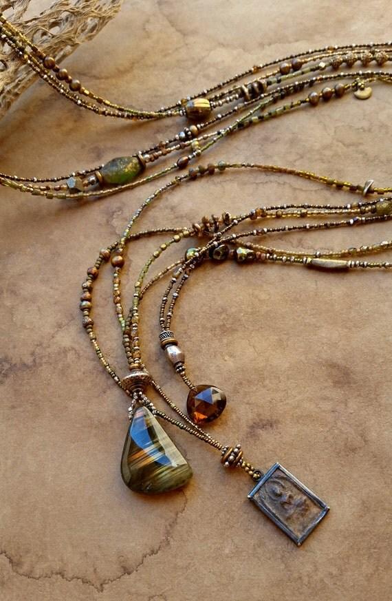 Beaded Necklace Set Desert Greens With Labradorite Buddha
