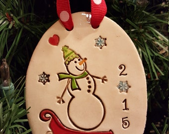 Snow Day Snowman - Personalized christmas tree Ornament