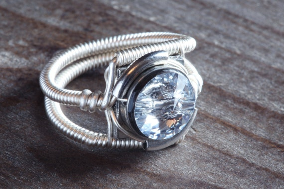 Steampunk Jewelry - Ring - Clear Swarovski Crystal