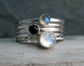 Stacking Ring Set or Single with Rainbow Moonstone,  Labradorite, and Black Onyx in Hammered Sterling Silver - Made to Order Stackable Rings