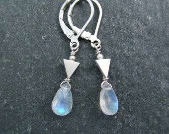 Rainbow Moonstone Earrings Silver with Brushed Silver Triangle Links - Blue Moonstone Geometric Earrings