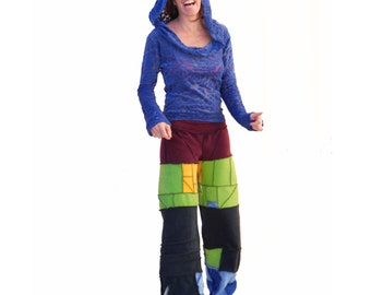 Rainbow Fleece Pants - Patchwork - Cozy Pajamas, Festival Warmies, Circus Festival Pants