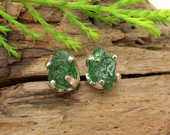 Rough Tsavorite Garnet Earrings in Silver with Genuine Gems, 8mm Fair Trade