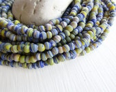 mini round lampwork beads , striped blue yellow glass beads, tiny spacer, irregular , boho ethnic Indonesian 3.5 to 5.5mm (10 inch) 6bb16-1