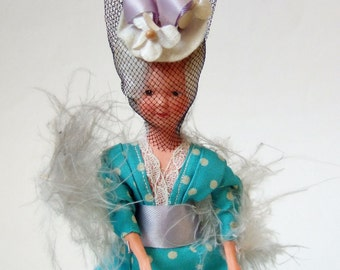 Vintage French Doll in Edwardian Costume - Belle Epoque Style Paris Kitsch Souvenir Doll