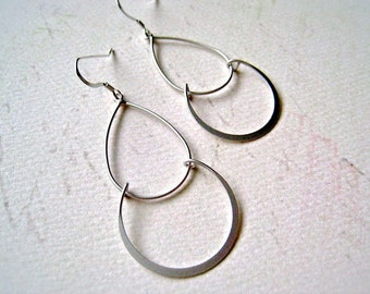Serena Earrings - elegant dangle earrings, lightweight double teardrop earrings, handmade jewelry, stocking stuffer, E03