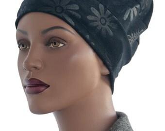 Black Ultra Suede Slouchy Hat Black Beanie Hat Tiered Hat Handmade