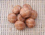 Brown Jacket Buttons, 19mm 3/4 inch - Brown Faux Leather Weave Shank Buttons - 8 VTG NOS Plastic Brown Tone Fake Leather Coat Buttons PL503