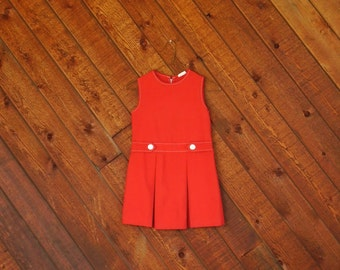 Red Sleeveless MOD Mini Dress - Vintage 60s - Girls