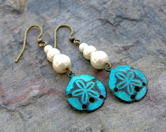 Sale Pearl Earrings, Seashell Pearl Earrings, Sand Dollar Earrings, Turquoise Shells