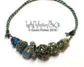 Tila Icosahedron Beaded Beads Necklace with Nuts and Washers in Blues with Lampwork Glass