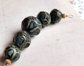 antique ethnic beads - 1930s turquoise and brass inlaid resin beads - graduated set - vintage jewelry supply
