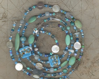 long beaded summer necklace Beach treasures long beaded necklace long necklace boho bead necklace boho layered necklace blue bead necklace