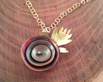 Riveted copper and brass poppy necklace