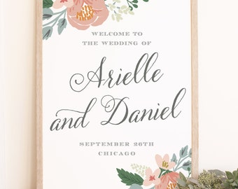 DIY Wedding Welcome Poster Template - Instant DOWNLOAD - Romantic Script - Word or Pages Mac and PC - 18x24 or 24x36 - 100% Editable