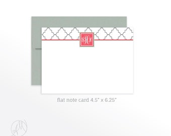 Custom Valentine's Gift, Personalized Flat Note Cards, Quatrefoil Monogrammed Stationery Set, Personal Thank You Notecard Set