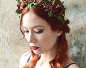 Woodland headband, leaf crown, floral headpiece, rustic wedding hair crown, mauve flower crown, hair accessories, flower girl crown