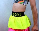 Vintage 80s High Waisted NEON Ruffled Skirt - Italian Boys