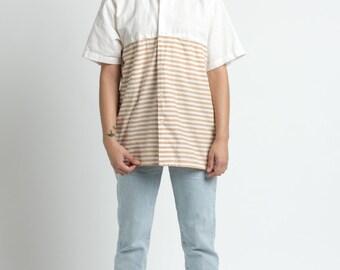 Vintage 80s Levi's Tan Striped Oversized Cotton Button Up Shirt | M/L