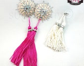 Barely There Nude Illusion Removable Tassel Rhinestone Nipple Pasties - SugarKitty Couture