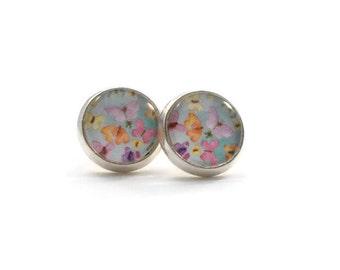 Pastel Butterfly Earrings, Jewelry for Teens, Pastel Earrings, Nickel Free Earrings, Gifts for Teen Girls, Blue Purple Pink Orange Yellow