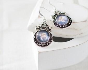 Moon in the Clouds Earrings. Silver Moon Earrings. Moon Jewelry. Blue Moon Earrings. Glass Dome Earrings. Clouds, Sky, Moonlight.