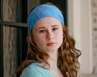 Hair Band Headband, Light Blue Headband, Women's Head Band, Denim Blue Head Scarf, Blue Running Head Scarf (#1210) S M L X