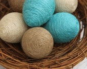 Jute Twine Eggs, Half Dozen, Complete with Nest, Natural, Ivory & Turquoise Twine, Easter Eggs, Spring Decoration, Bowl or Basket Filler