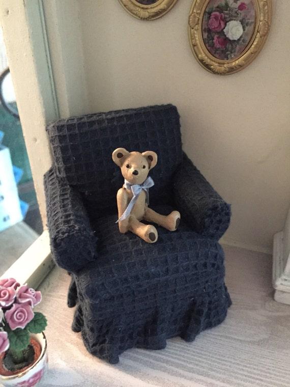 SALE Miniature Teddy Bear with Bow, Dollhouse Miniature, 1:12 Scale, Bear Figurine, Tiny Teddy Bear, Dollhouse Mini Bear