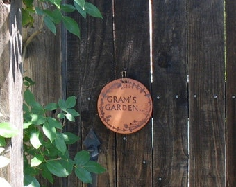 "Garden Gate Sign ""Gram's Garden"" - Round Pottery Wall Hanging Sign - Made with Real Plant Material -  Garden Welcome Sign - Gardener Gift"