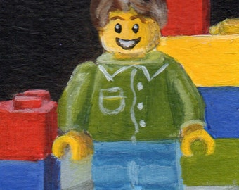 Mini Painting, ACEO Original Small Acrylic Painting of a Classic Building Toy