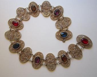 rare vintage Accessocraft NYC belt - oval filigree links, faceted rhinestones