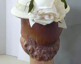 Vintage 50s Hat Chipper White Straw Topper with Rose - on sale